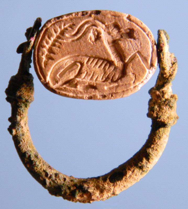 Egyptian Scarab in Bronze Ring: Ibex
