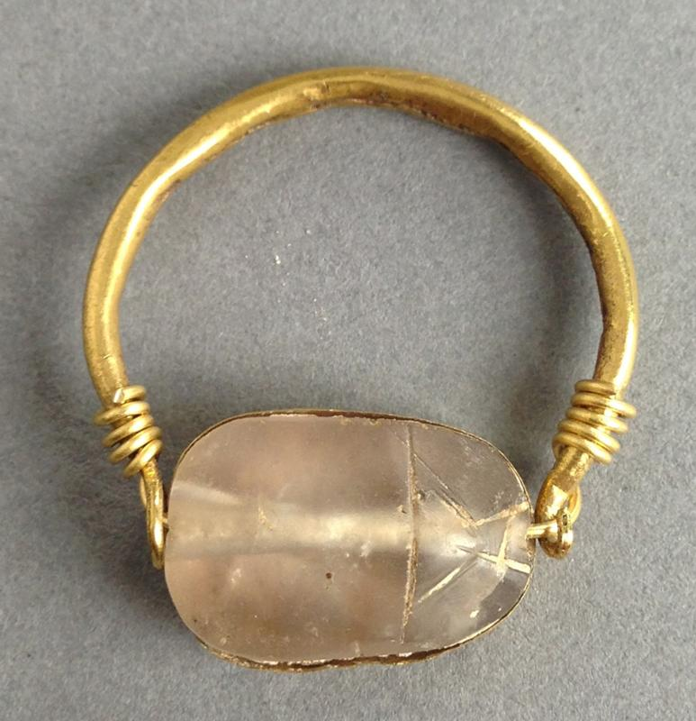 Canaanite Crystal Scarab in Gold Ring