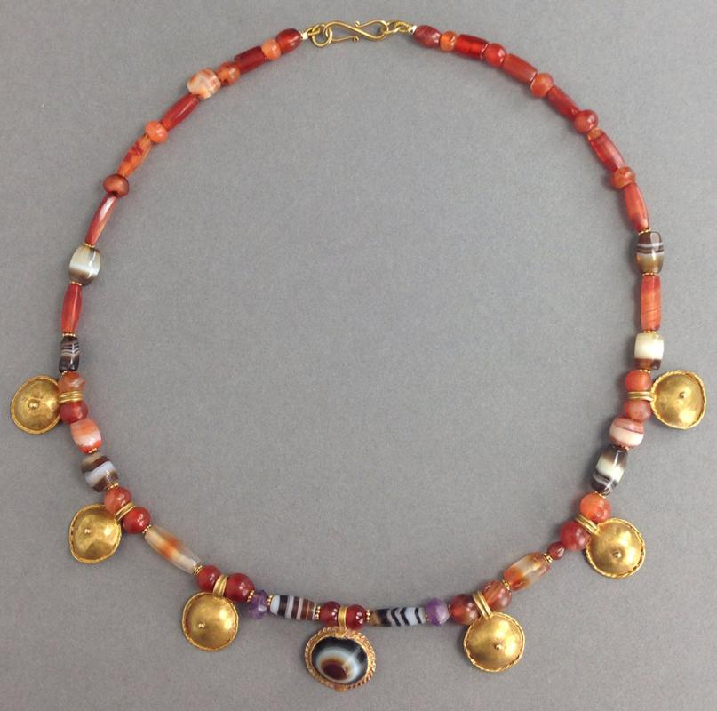 Roman Gold, Sardonyx, Carnelian, and Amethyst Necklace