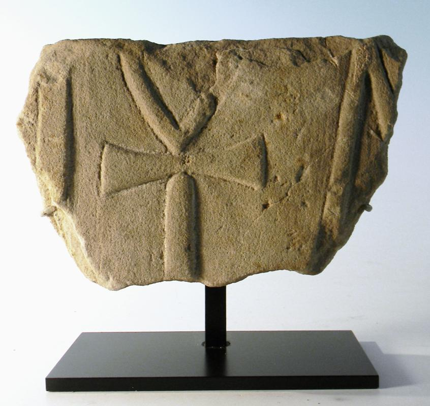 Egyptian Sandstone Relief of an Ankh