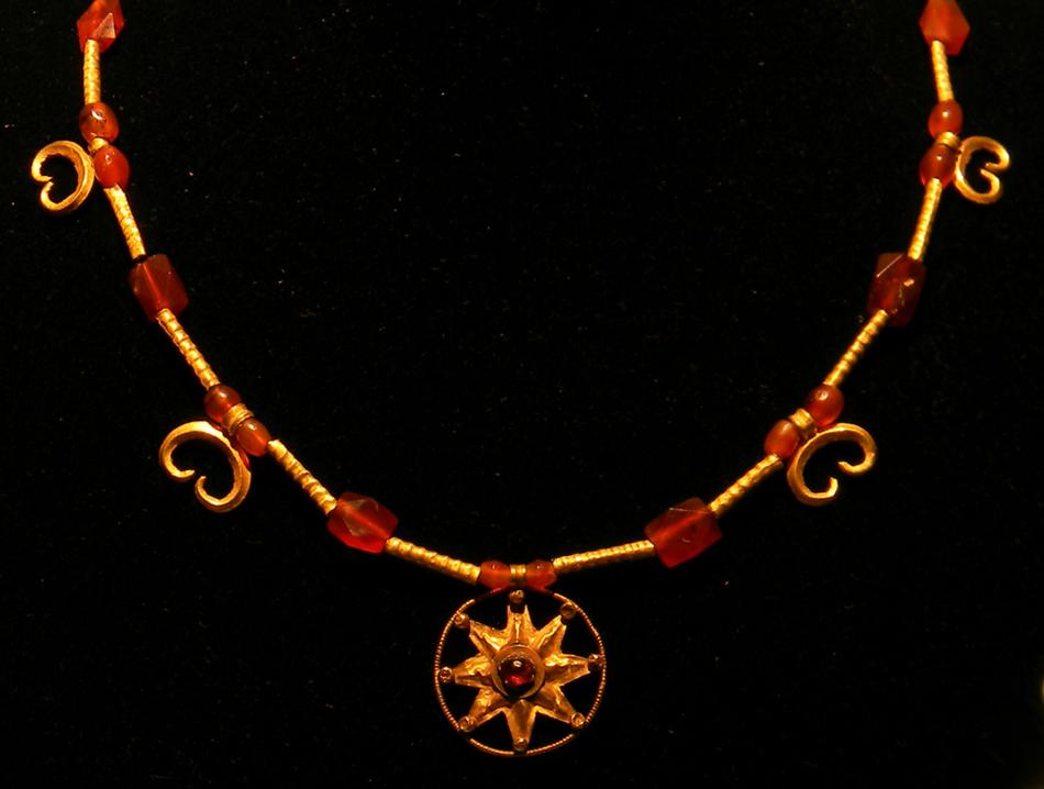 Greek Gold and Garnet Sun Pendant Necklace