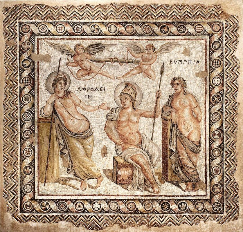 Roman Mosaic: Courtship of Ares and Aphrodite