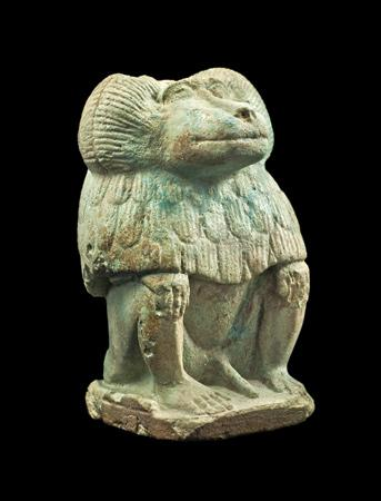Egyptian Faience Statuette of a Baboon