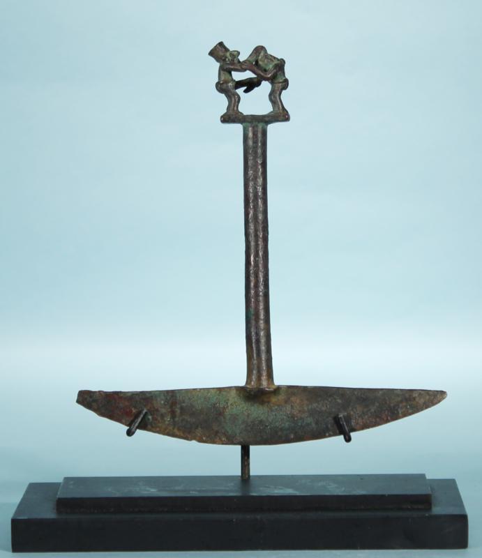 Chimu Bronze Tumi with Warrior Decapitating Prisoner