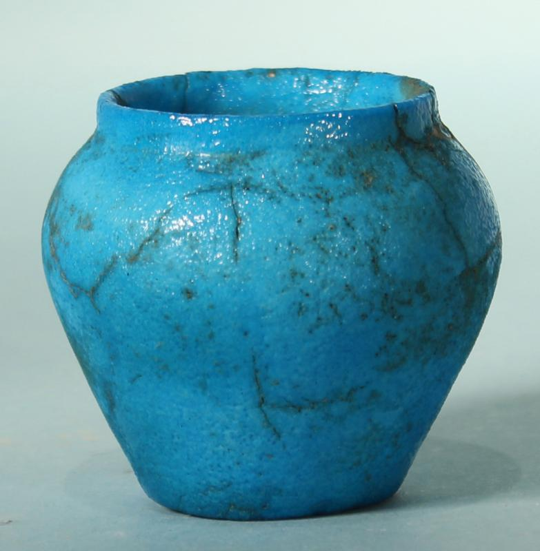 Egyptian Faience Cosmetic Vessel