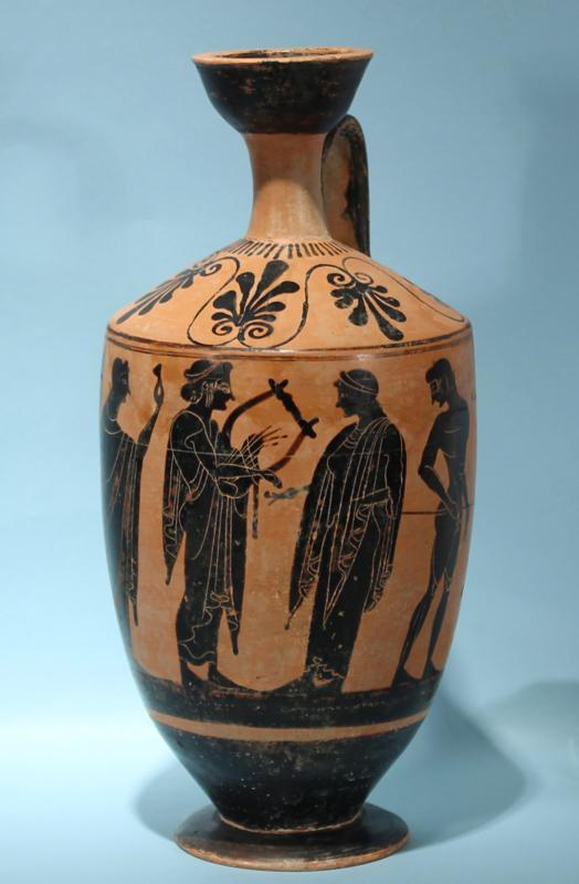 Attic Greek Black-Figure Lekythos: Apollo
