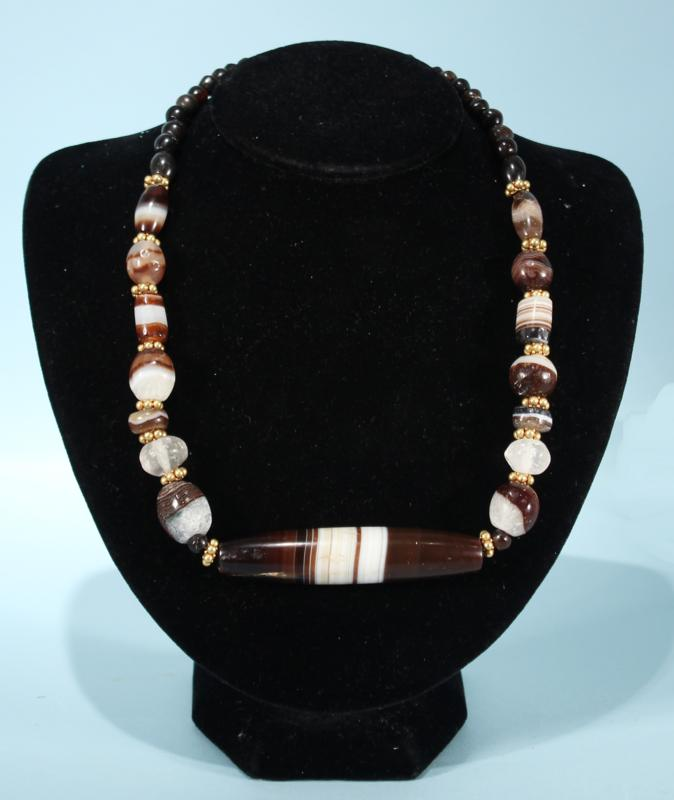 Babylonian Banded Agate Bead Necklace