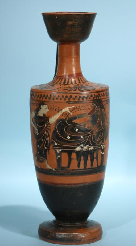 Attic Greek Black-Figure Lekythos: Dionysos