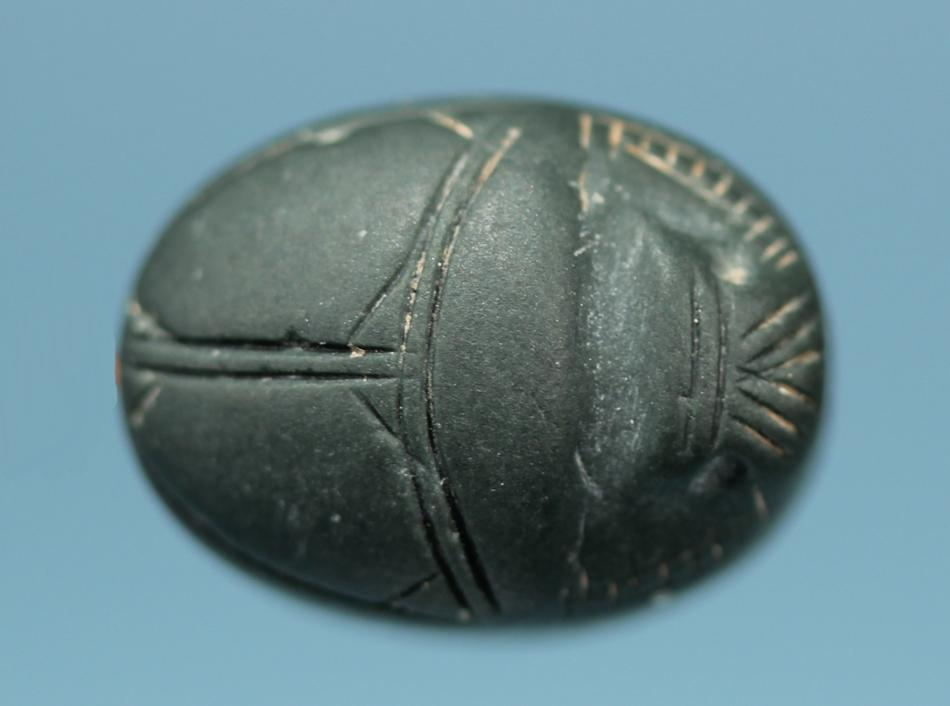 Cypriot Steatite Scarab: Lion Attacking a Bull