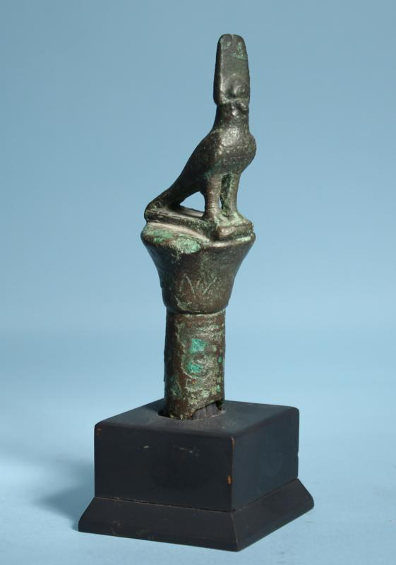Egyptian Bronze Falcon Finial