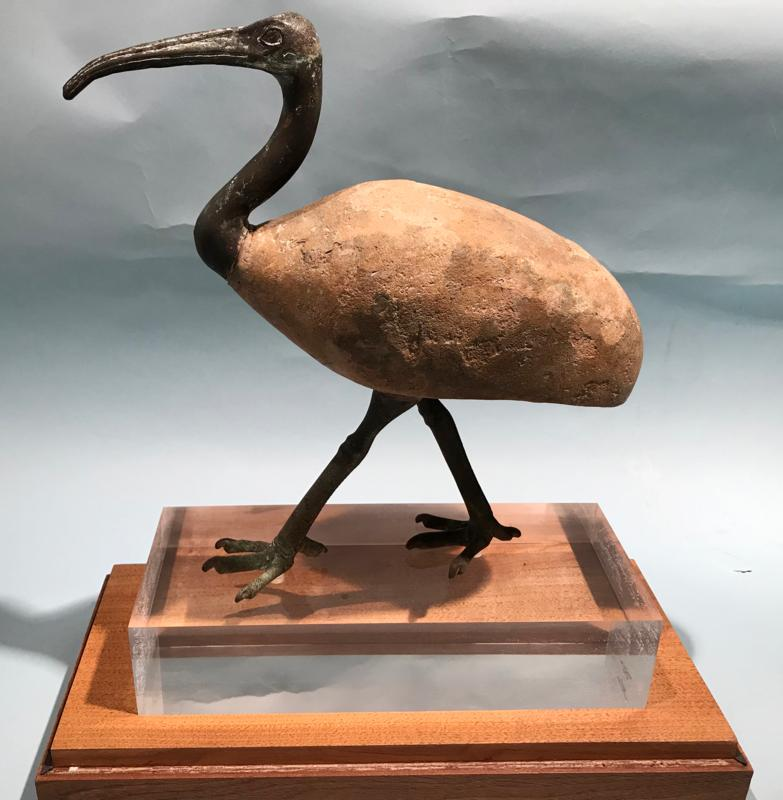Egyptian Wood and Bronze Ibis