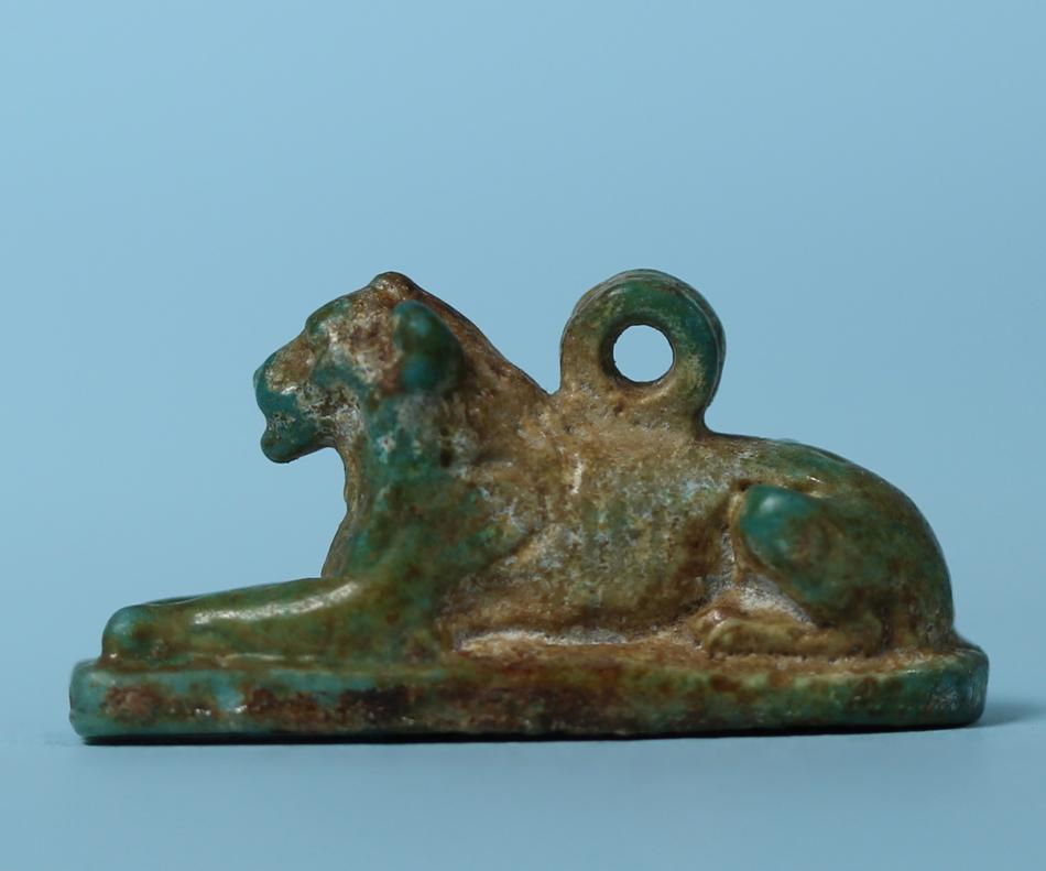 Egyptian Faience Lion Amulet