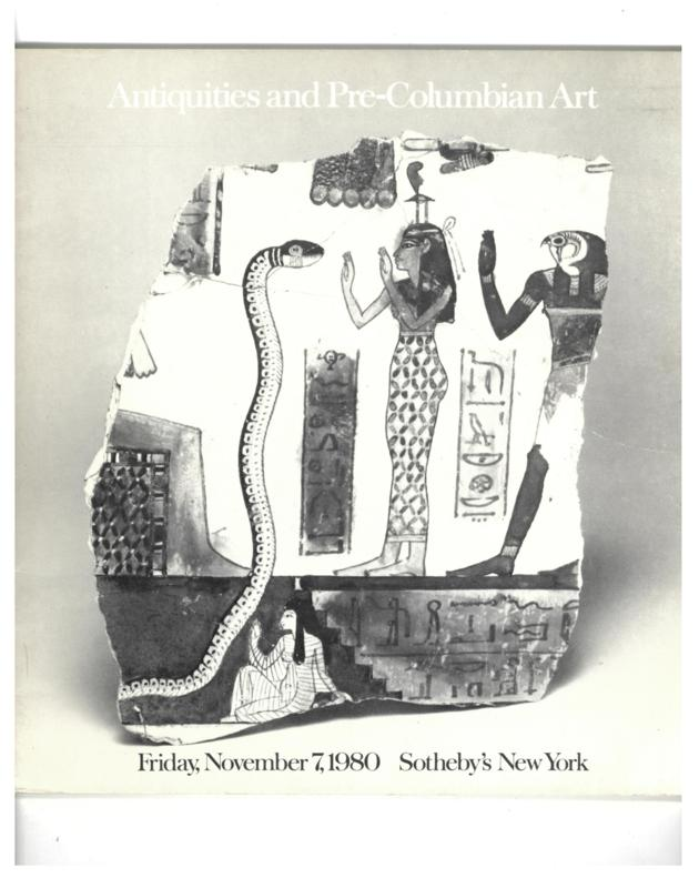 Sotheby's Auction Catalog, November 7, 1980