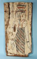 Egyptian Wood Sarcophagus Panel with the Goddess Nut