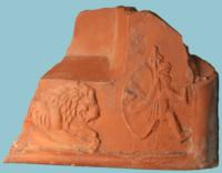 Roman Terra Sigillata Fragment: Lion and Venator