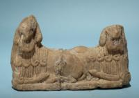 Sumerian Gypsum Statuette of Human-Headed Bulls