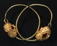 Ostrogothic Gold and Glass Earrings