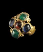 Medieval Gold Ring with Glass Ringstones