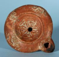 Roman Oil Lamp: Geometric Decoration