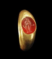 Roman Gold Ring: Carnelian Intaglio of Asclepius